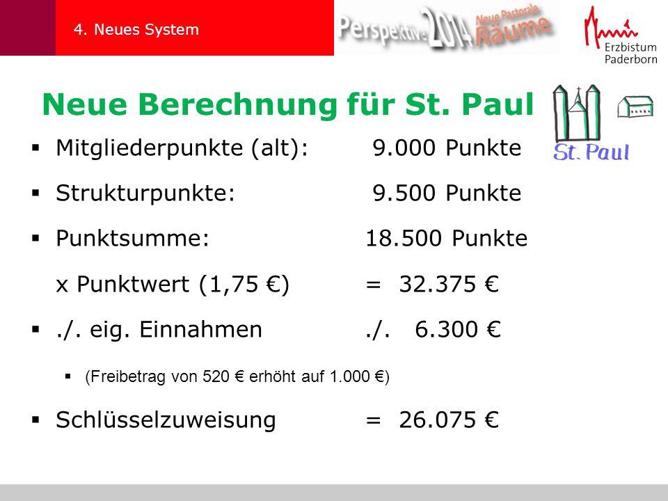 4. Neues System  Mitgliederpunkte (alt): 9.000 Punkte  Strukturpunkte: 9.500 Punkte  Punktsumme:18.500 Punkte x Punktwert (1,75 €)= 32.375 € ./. e