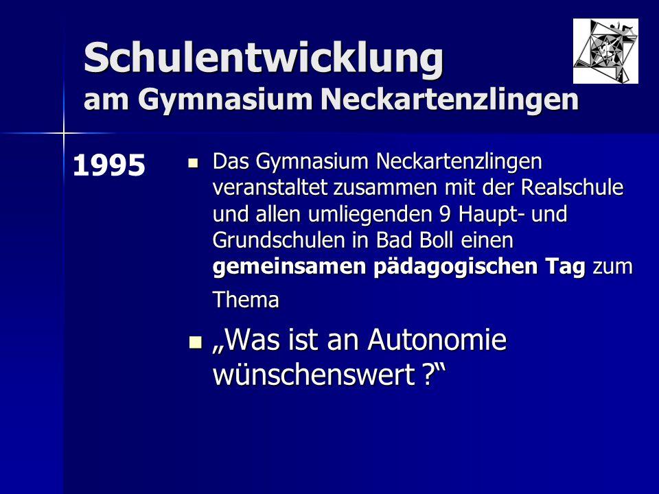 Schulentwicklung am Gymnasium Neckartenzlingen Erarbeitung des Schulcurriculums für das 8-jährige Gymnasium Erarbeitung des Schulcurriculums für das 8-jährige Gymnasium Seit 2003