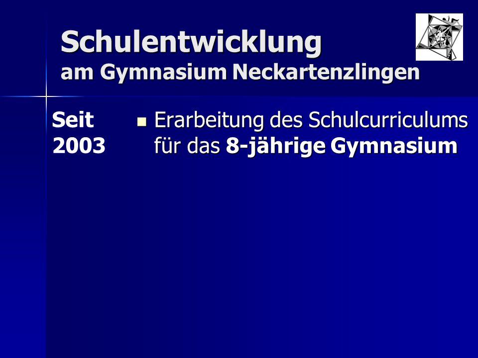 Schulentwicklung am Gymnasium Neckartenzlingen Erarbeitung des Schulcurriculums für das 8-jährige Gymnasium Erarbeitung des Schulcurriculums für das 8