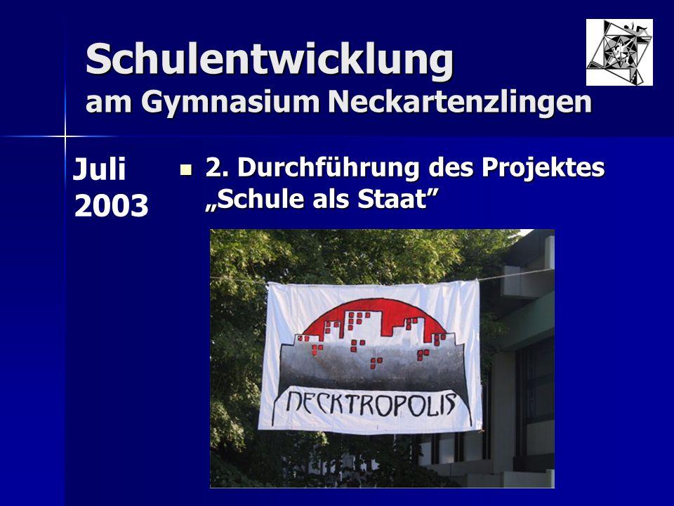 """Schulentwicklung am Gymnasium Neckartenzlingen 2. Durchführung des Projektes """"Schule als Staat"""" 2. Durchführung des Projektes """"Schule als Staat"""" Juli"""