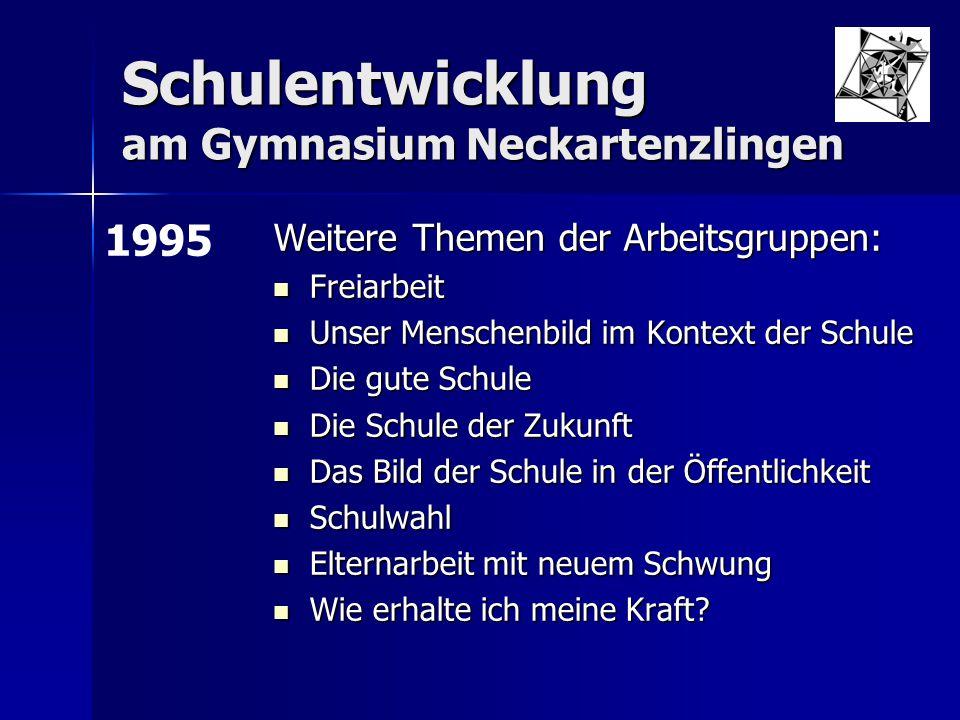 """Schulentwicklung am Gymnasium Neckartenzlingen Workshop """"Schule mit Zukunft für 10 LehrerInnen, 10 SchülerInnen und 10 Eltern unter Leitung der Landeszentrale für politische Bildung."""