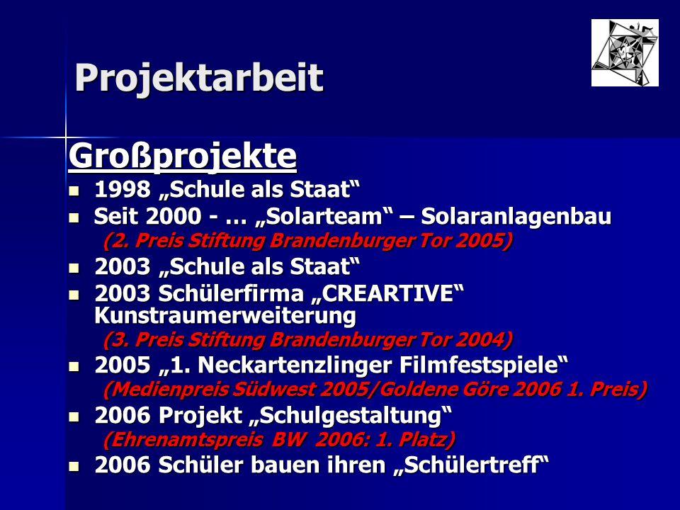 """Projektarbeit Großprojekte 1998 """"Schule als Staat"""" 1998 """"Schule als Staat"""" Seit 2000 - … """"Solarteam"""" – Solaranlagenbau Seit 2000 - … """"Solarteam"""" – Sol"""