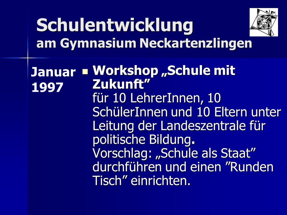 """Schulentwicklung am Gymnasium Neckartenzlingen Workshop """"Schule mit Zukunft"""" für 10 LehrerInnen, 10 SchülerInnen und 10 Eltern unter Leitung der Lande"""