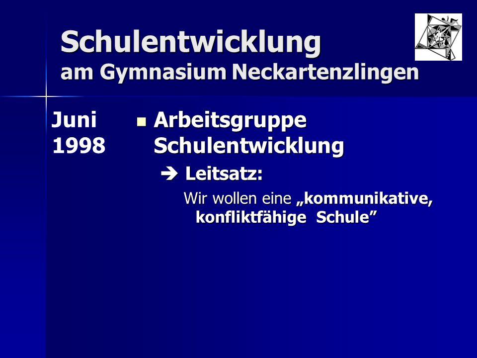 """Schulentwicklung am Gymnasium Neckartenzlingen Arbeitsgruppe Schulentwicklung Arbeitsgruppe Schulentwicklung  Leitsatz: Wir wollen eine """"kommunikativ"""