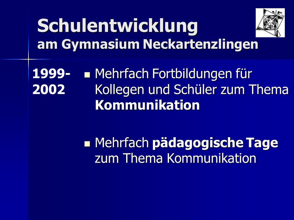 Schulentwicklung am Gymnasium Neckartenzlingen Mehrfach Fortbildungen für Kollegen und Schüler zum Thema Kommunikation Mehrfach Fortbildungen für Koll