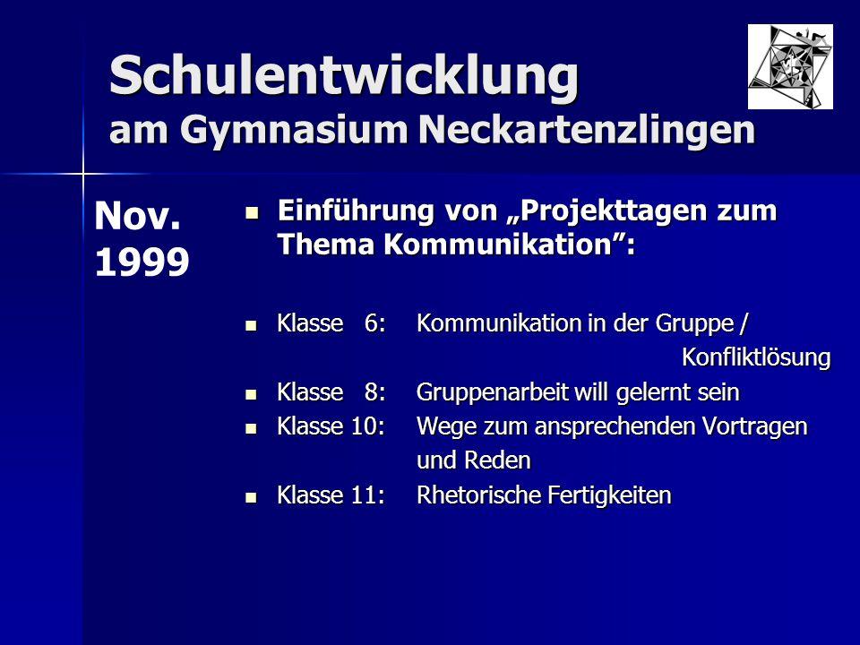 """Schulentwicklung am Gymnasium Neckartenzlingen Einführung von """"Projekttagen zum Thema Kommunikation"""": Einführung von """"Projekttagen zum Thema Kommunika"""