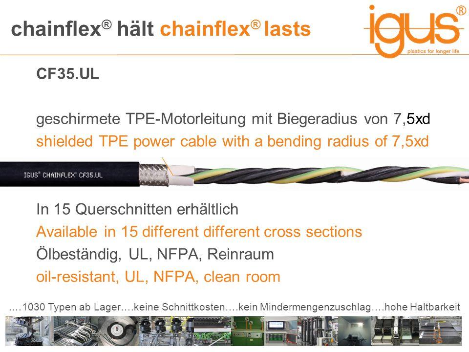 chainflex ® hält chainflex ® lasts.…1030 Typen ab Lager….keine Schnittkosten….kein Mindermengenzuschlag….hohe Haltbarkeit CF35.UL geschirmete TPE-Moto