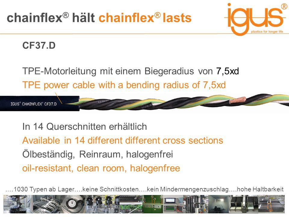 chainflex ® hält chainflex ® lasts.…1030 Typen ab Lager….keine Schnittkosten….kein Mindermengenzuschlag….hohe Haltbarkeit CF37.D TPE-Motorleitung mit