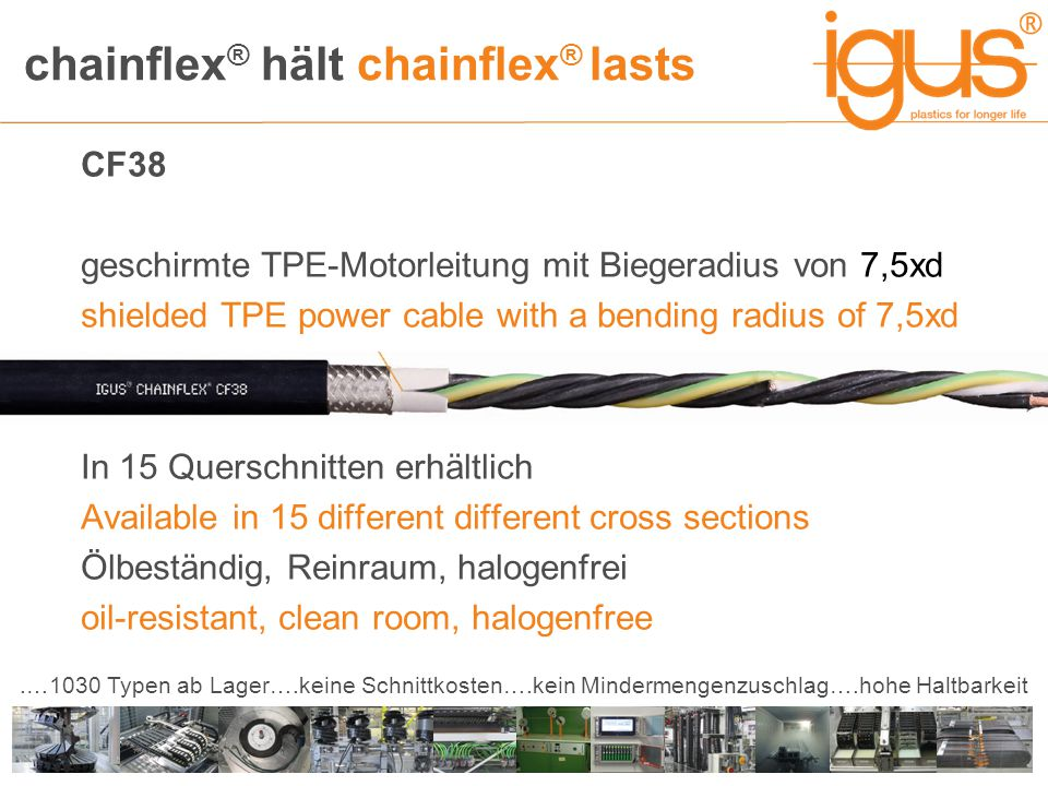 chainflex ® hält chainflex ® lasts.…1030 Typen ab Lager….keine Schnittkosten….kein Mindermengenzuschlag….hohe Haltbarkeit CF38 geschirmte TPE-Motorleitung mit Biegeradius von 7,5xd shielded TPE power cable with a bending radius of 7,5xd In 15 Querschnitten erhältlich Available in 15 different different cross sections Ölbeständig, Reinraum, halogenfrei oil-resistant, clean room, halogenfree