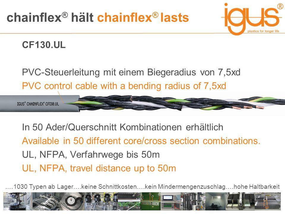chainflex ® hält chainflex ® lasts.…1030 Typen ab Lager….keine Schnittkosten….kein Mindermengenzuschlag….hohe Haltbarkeit CF130.UL PVC-Steuerleitung m