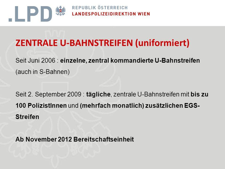 ZENTRALE U-BAHNSTREIFEN (uniformiert) Seit Juni 2006 : einzelne, zentral kommandierte U-Bahnstreifen (auch in S-Bahnen) Seit 2.