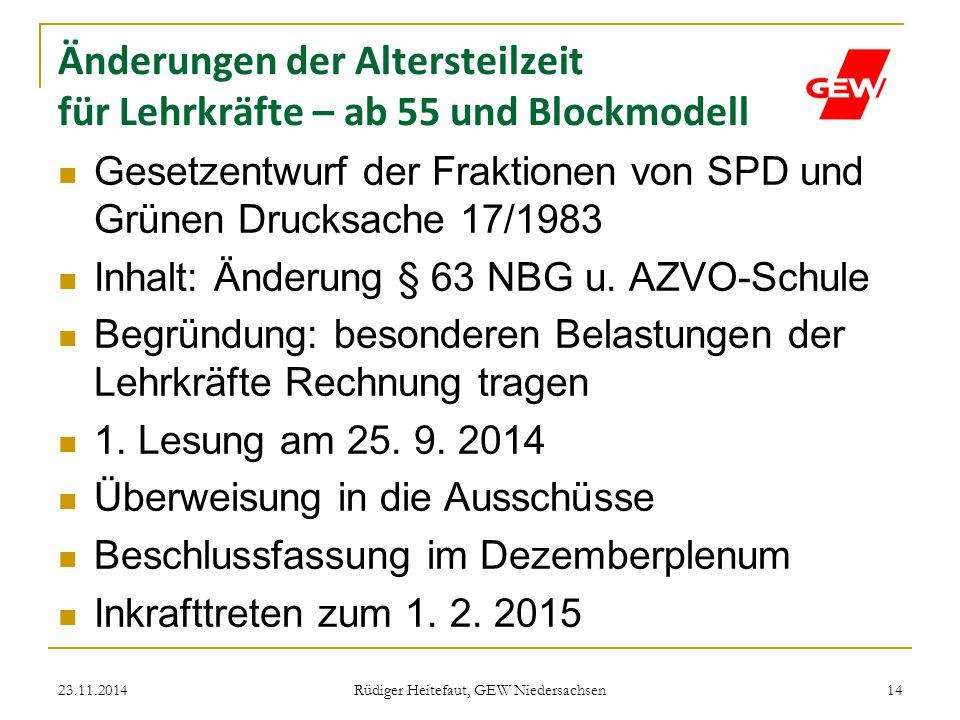 Änderungen der Altersteilzeit für Lehrkräfte – ab 55 und Blockmodell Gesetzentwurf der Fraktionen von SPD und Grünen Drucksache 17/1983 Inhalt: Änderu