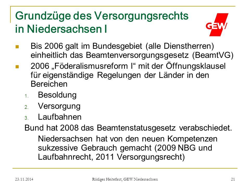 23.11.2014 Rüdiger Heitefaut, GEW Niedersachsen 21 Grundzüge des Versorgungsrechts in Niedersachsen I Bis 2006 galt im Bundesgebiet (alle Dienstherren