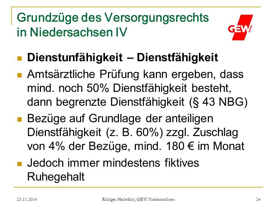 23.11.2014 Rüdiger Heitefaut, GEW Niedersachsen 24 Grundzüge des Versorgungsrechts in Niedersachsen IV Dienstunfähigkeit – Dienstfähigkeit Amtsärztlic