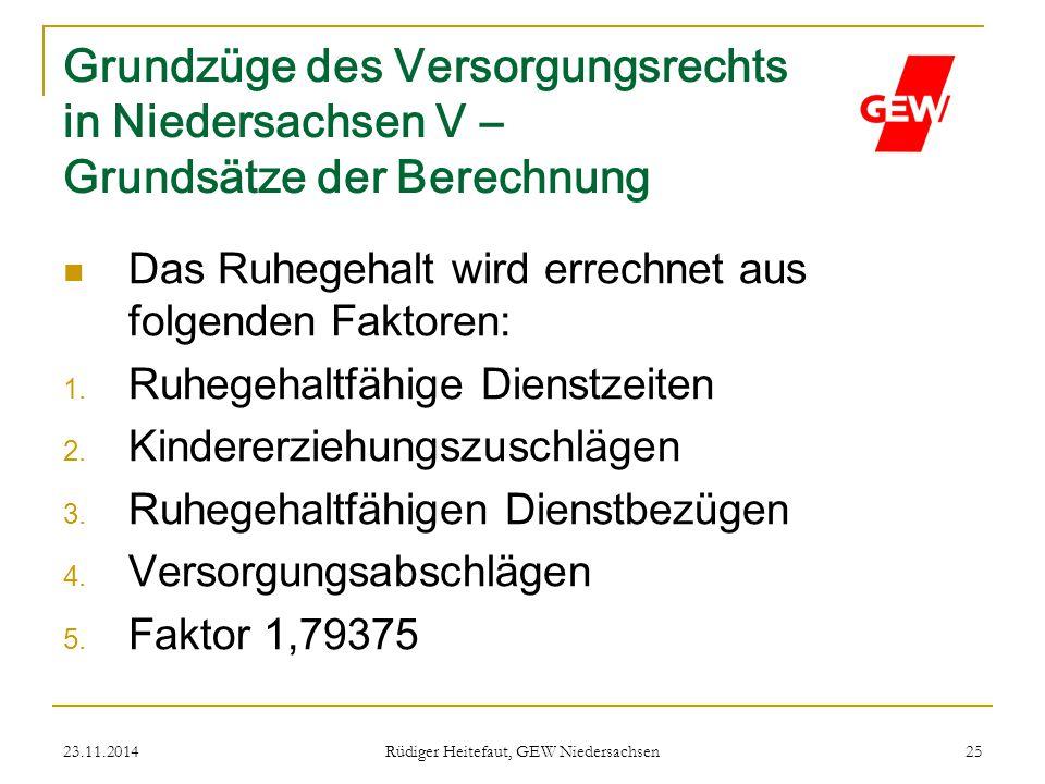 23.11.2014 Rüdiger Heitefaut, GEW Niedersachsen 25 Grundzüge des Versorgungsrechts in Niedersachsen V – Grundsätze der Berechnung Das Ruhegehalt wird