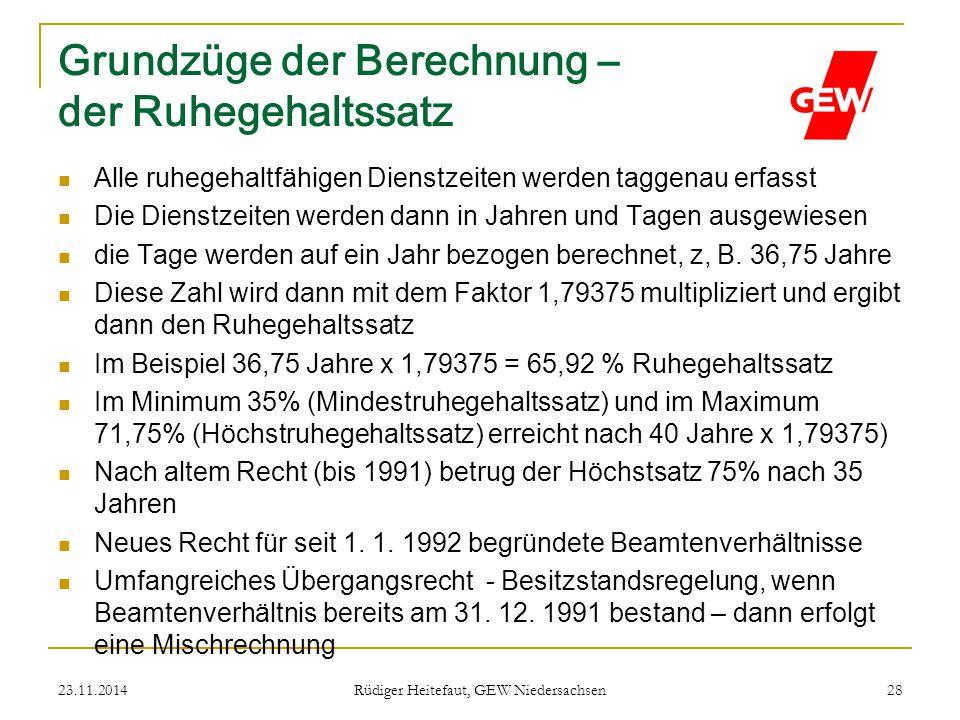 23.11.2014 Rüdiger Heitefaut, GEW Niedersachsen 28 Grundzüge der Berechnung – der Ruhegehaltssatz Alle ruhegehaltfähigen Dienstzeiten werden taggenau