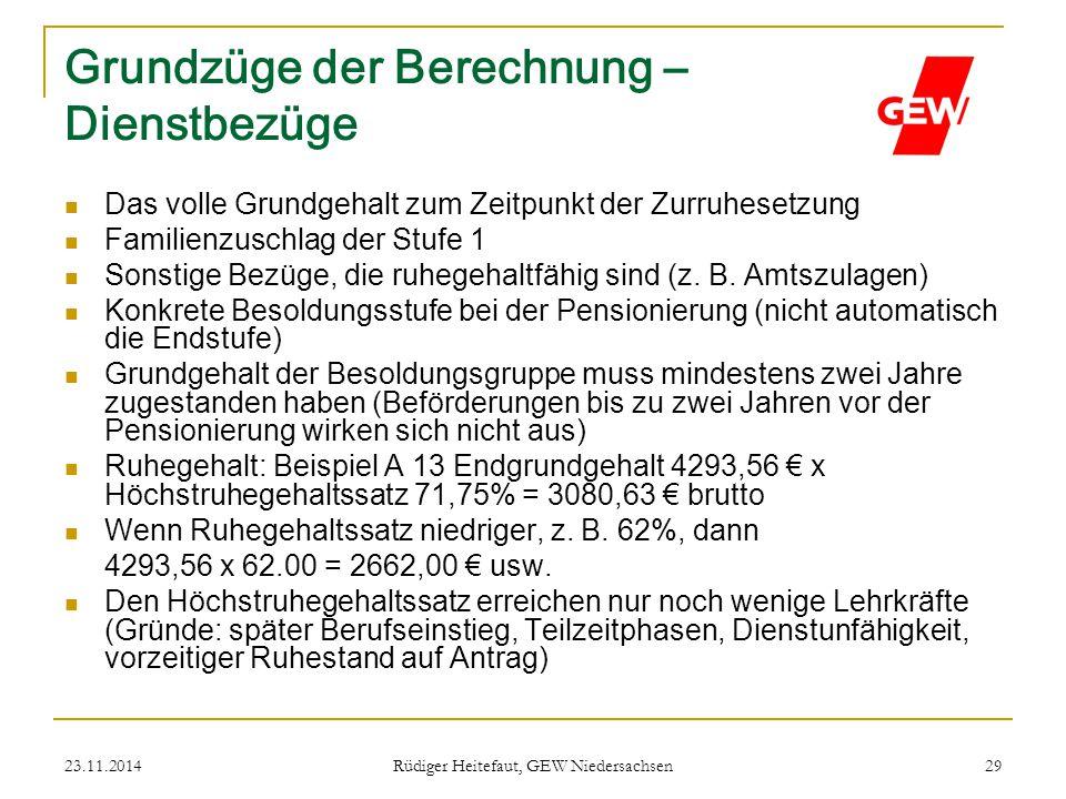 23.11.2014 Rüdiger Heitefaut, GEW Niedersachsen 29 Grundzüge der Berechnung – Dienstbezüge Das volle Grundgehalt zum Zeitpunkt der Zurruhesetzung Fami