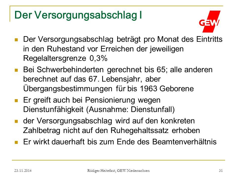 23.11.2014 Rüdiger Heitefaut, GEW Niedersachsen 31 Der Versorgungsabschlag I Der Versorgungsabschlag beträgt pro Monat des Eintritts in den Ruhestand