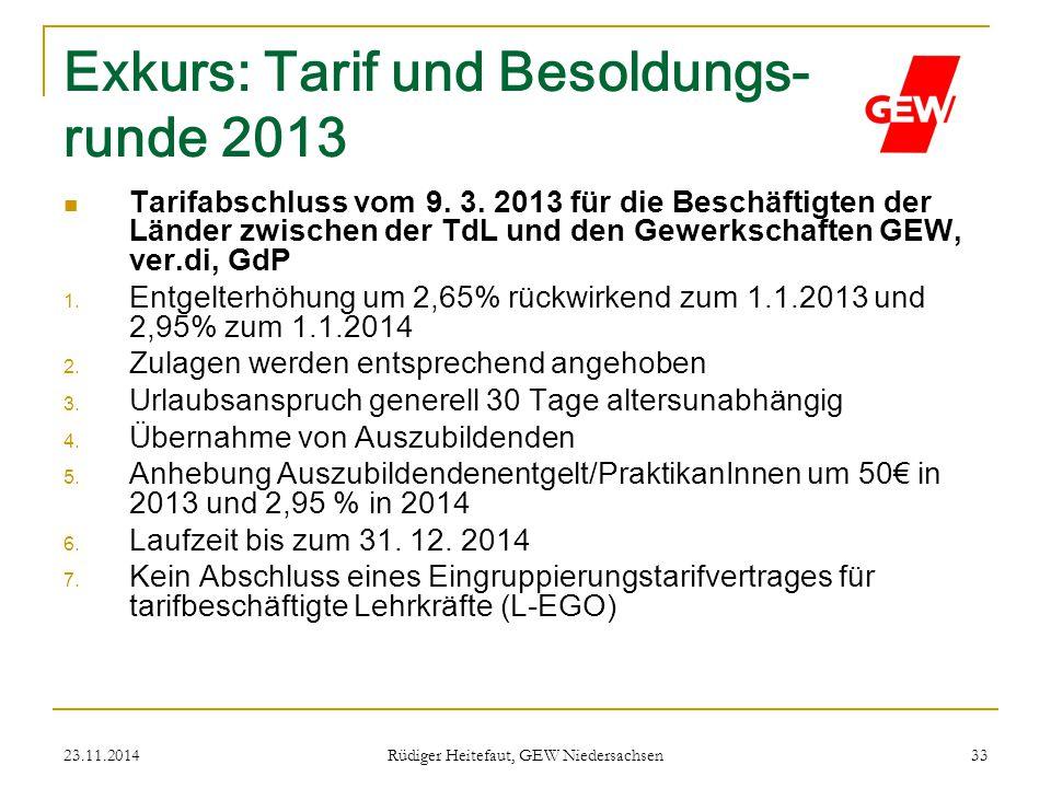 23.11.2014 Rüdiger Heitefaut, GEW Niedersachsen 33 Exkurs: Tarif und Besoldungs- runde 2013 Tarifabschluss vom 9. 3. 2013 für die Beschäftigten der Lä