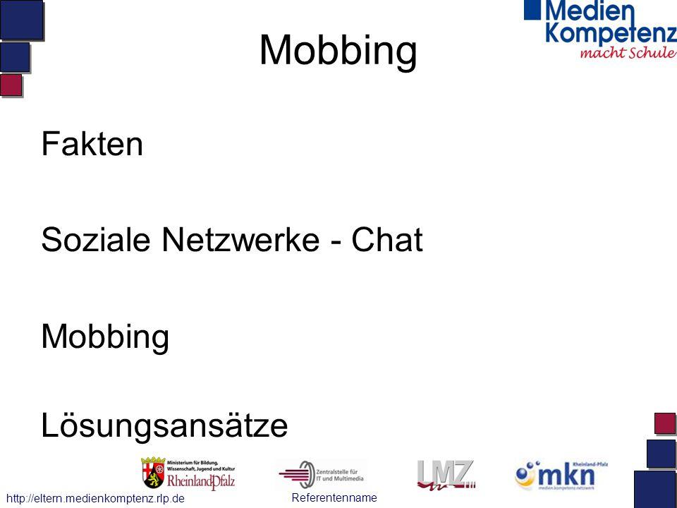 Referentenname http://eltern.medienkomptenz.rlp.de Mobbing Fakten Soziale Netzwerke - Chat Mobbing Lösungsansätze