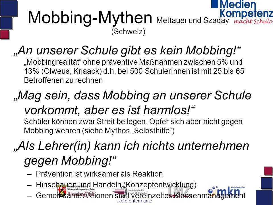 """Referentenname Mobbing-Mythen Mettauer und Szaday (Schweiz) """"An unserer Schule gibt es kein Mobbing!"""" """"Mobbingrealität"""" ohne präventive Maßnahmen zwis"""
