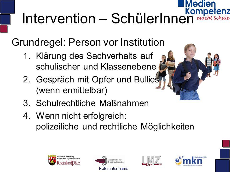 Referentenname Intervention – SchülerInnen Grundregel: Person vor Institution 1.Klärung des Sachverhalts auf schulischer und Klassenebene 2.Gespräch m