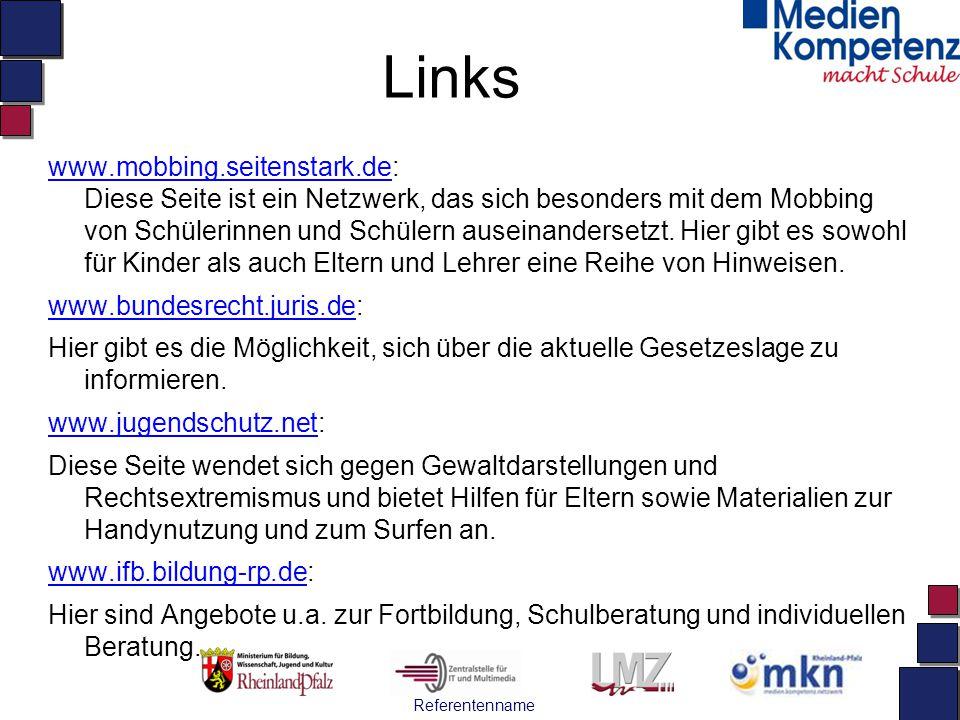 Referentenname Links www.mobbing.seitenstark.dewww.mobbing.seitenstark.de: Diese Seite ist ein Netzwerk, das sich besonders mit dem Mobbing von Schüle