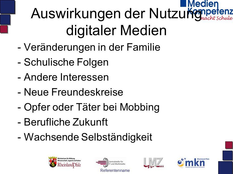 Auswirkungen der Nutzung digitaler Medien - Veränderungen in der Familie - Schulische Folgen - Andere Interessen - Neue Freundeskreise - Opfer oder Tä