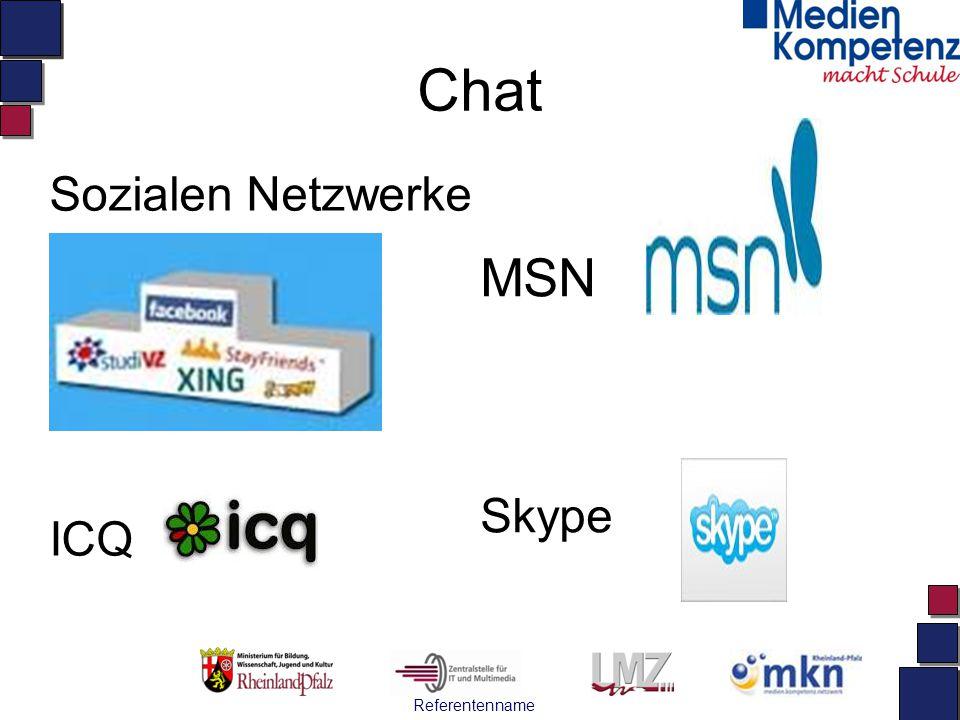 Referentenname Chat Sozialen Netzwerke ICQ MSN Skype