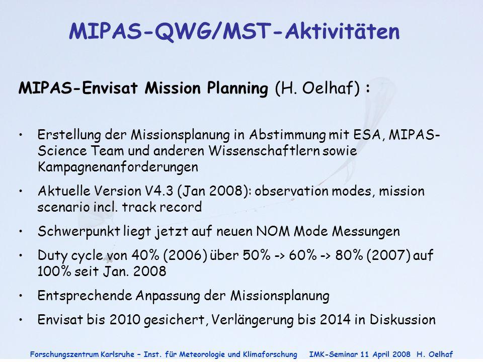 Forschungszentrum Karlsruhe – Inst. für Meteorologie und Klimaforschung IMK-Seminar 11 April 2008H. Oelhaf MIPAS-QWG/MST-Aktivitäten MIPAS-Envisat Mis
