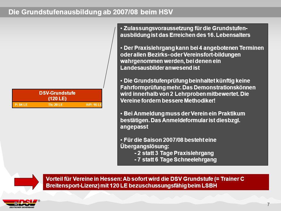 7 Die Grundstufenausbildung ab 2007/08 beim HSV DSV-Grundstufe (120 LE) P: 84 LE Th: 20 LE H/P: 16 LE Zulassungsvoraussetzung für die Grundstufen- aus