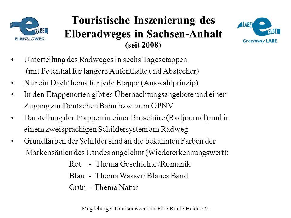 Touristische Inszenierung des Elberadweges in Sachsen-Anhalt (seit 2008) Unterteilung des Radweges in sechs Tagesetappen (mit Potential für längere Au