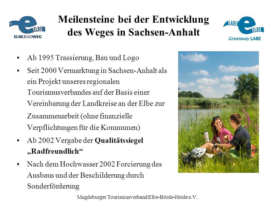 Magdeburger Tourismusverband Elbe-Börde-Heide e.V. Meilensteine bei der Entwicklung des Weges in Sachsen-Anhalt Ab 1995 Trassierung, Bau und Logo Seit