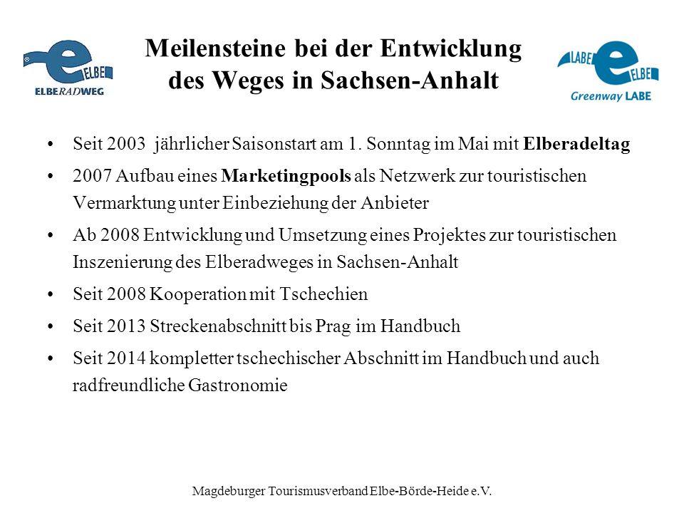 Magdeburger Tourismusverband Elbe-Börde-Heide e.V. Meilensteine bei der Entwicklung des Weges in Sachsen-Anhalt Seit 2003 jährlicher Saisonstart am 1.