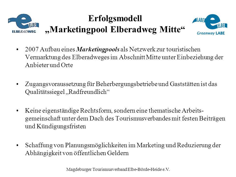 "Magdeburger Tourismusverband Elbe-Börde-Heide e.V. Erfolgsmodell ""Marketingpool Elberadweg Mitte"" 2007 Aufbau eines Marketingpools als Netzwerk zur to"