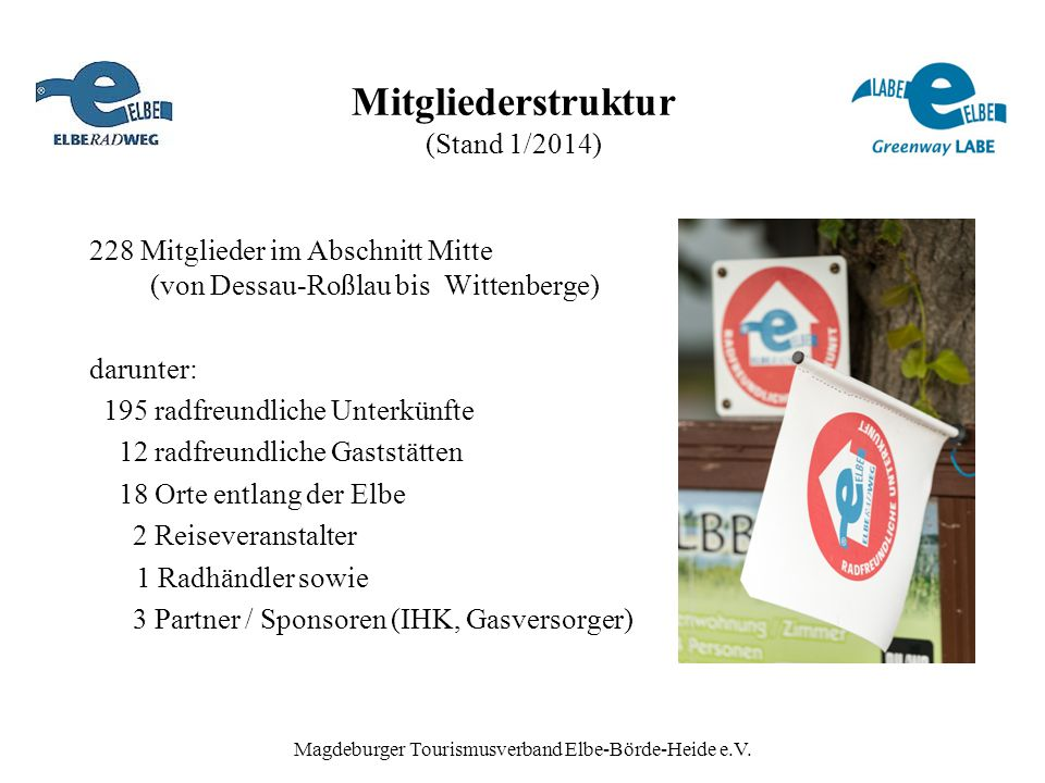 Mitgliederstruktur (Stand 1/2014) 228 Mitglieder im Abschnitt Mitte (von Dessau-Roßlau bis Wittenberge) darunter: 195 radfreundliche Unterkünfte 12 ra