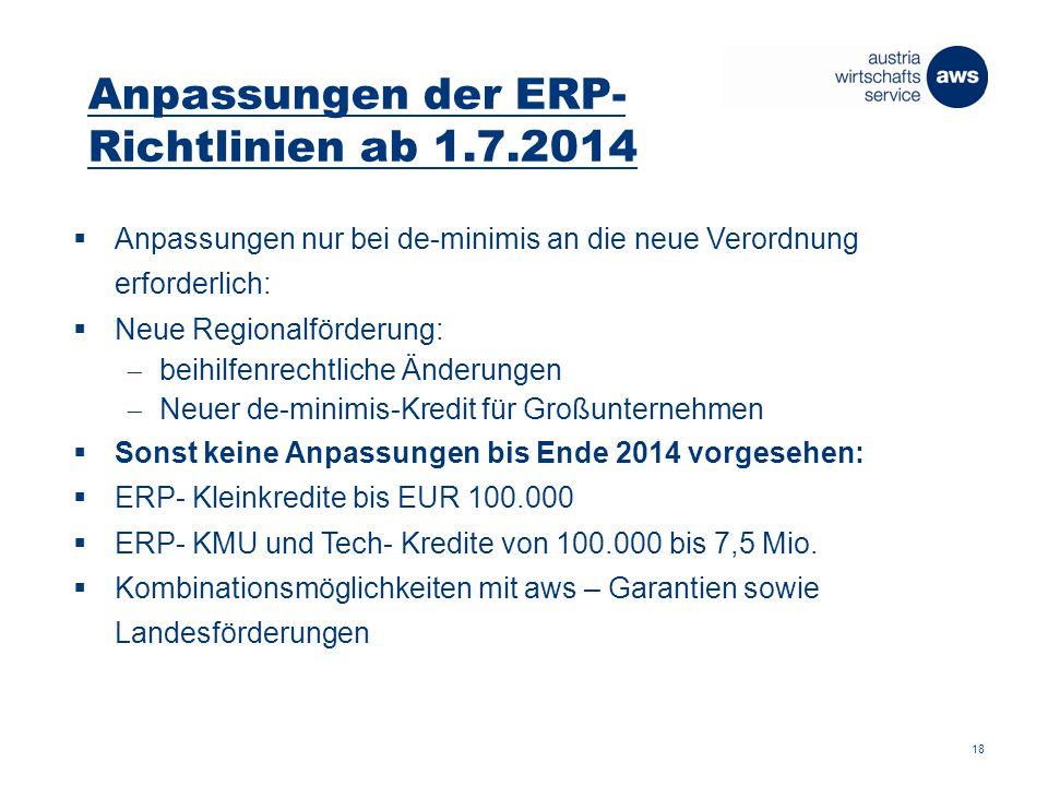 Anpassungen der ERP- Richtlinien ab 1.7.2014  Anpassungen nur bei de-minimis an die neue Verordnung erforderlich:  Neue Regionalförderung:  beihilfenrechtliche Änderungen  Neuer de-minimis-Kredit für Großunternehmen  Sonst keine Anpassungen bis Ende 2014 vorgesehen:  ERP- Kleinkredite bis EUR 100.000  ERP- KMU und Tech- Kredite von 100.000 bis 7,5 Mio.