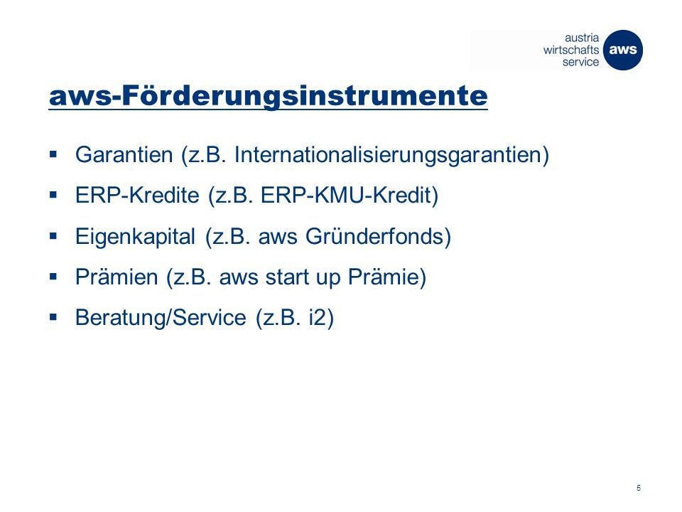 aws-Förderungsinstrumente  Garantien (z.B. Internationalisierungsgarantien)  ERP-Kredite (z.B.