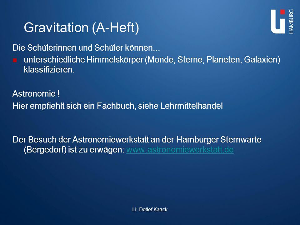 Gravitation (A-Heft) Die Schu ̈ lerinnen und Schu ̈ ler können... unterschiedliche Himmelskörper (Monde, Sterne, Planeten, Galaxien) klassifizieren. A