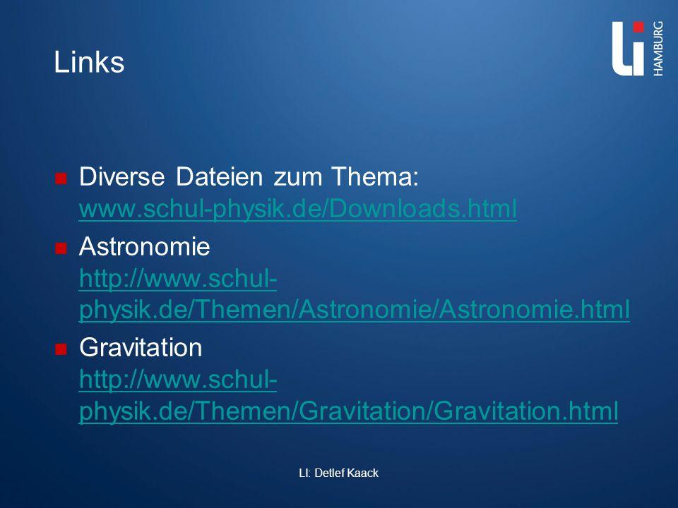 Links Diverse Dateien zum Thema: www.schul-physik.de/Downloads.html www.schul-physik.de/Downloads.html Astronomie http://www.schul- physik.de/Themen/A