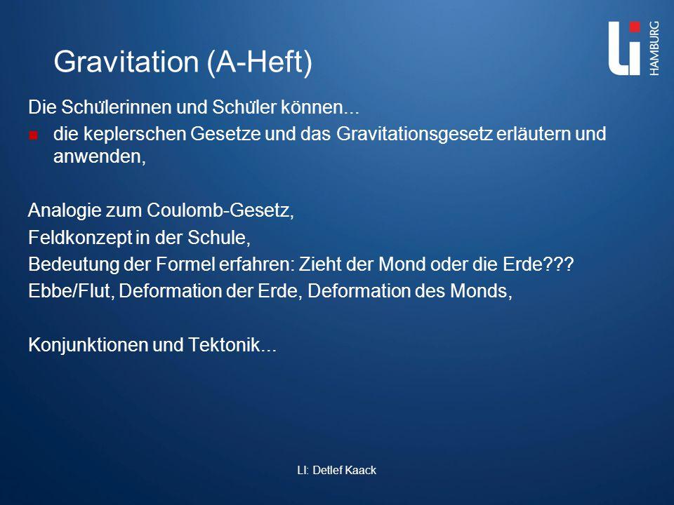 Gravitation (A-Heft) Die Schu ̈ lerinnen und Schu ̈ ler können... die keplerschen Gesetze und das Gravitationsgesetz erläutern und anwenden, Analogie