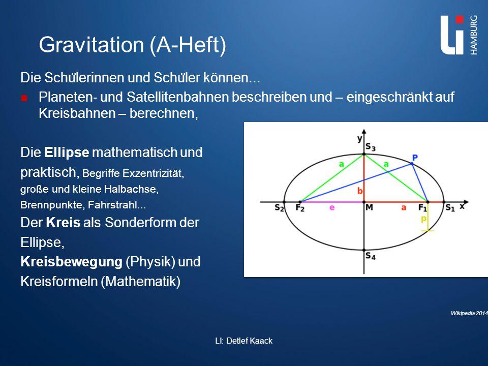 Gravitation (A-Heft) Die Schu ̈ lerinnen und Schu ̈ ler können... Planeten ‐ und Satellitenbahnen beschreiben und – eingeschränkt auf Kreisbahnen – be