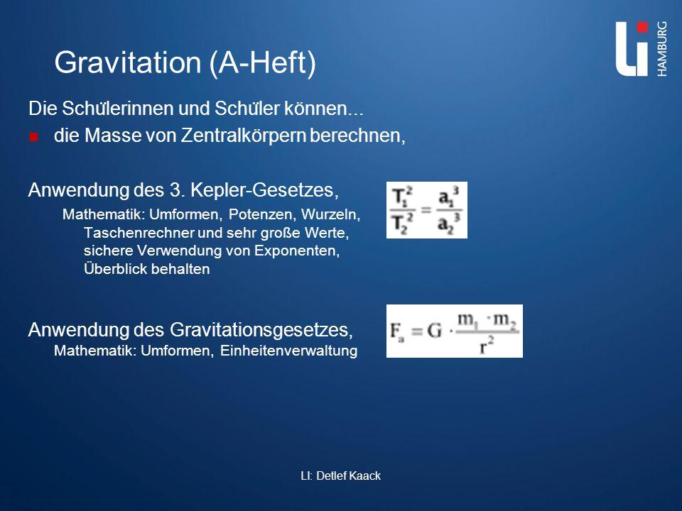Links Diverse Dateien zum Thema: www.schul-physik.de/Downloads.html www.schul-physik.de/Downloads.html Astronomie http://www.schul- physik.de/Themen/Astronomie/Astronomie.html http://www.schul- physik.de/Themen/Astronomie/Astronomie.html Gravitation http://www.schul- physik.de/Themen/Gravitation/Gravitation.html http://www.schul- physik.de/Themen/Gravitation/Gravitation.html LI: Detlef Kaack