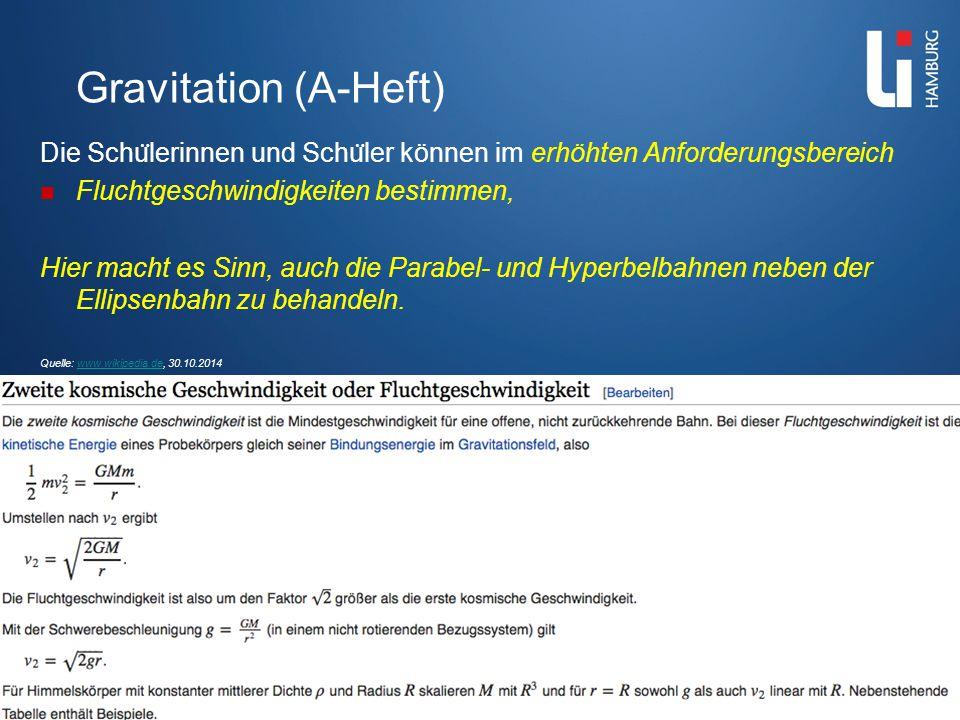 Gravitation (A-Heft) Die Schu ̈ lerinnen und Schu ̈ ler können...