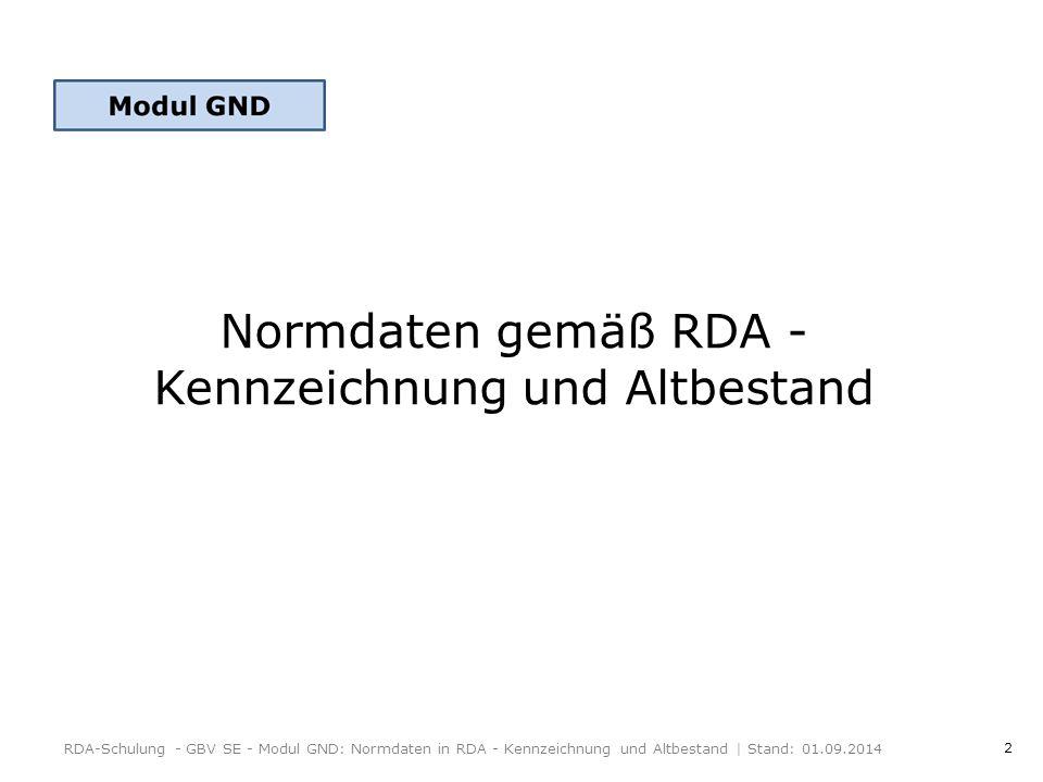 2 Normdaten gemäß RDA - Kennzeichnung und Altbestand RDA-Schulung - GBV SE - Modul GND: Normdaten in RDA - Kennzeichnung und Altbestand | Stand: 01.09.2014