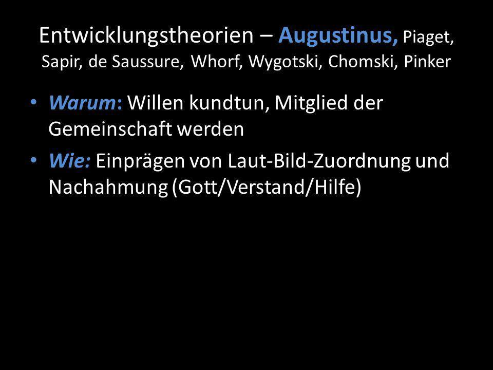 Entwicklungstheorien – Augustinus, Piaget, Sapir, de Saussure, Whorf, Wygotski, Chomski, Pinker Warum: Willen kundtun, Mitglied der Gemeinschaft werden Wie: Einprägen von Laut-Bild-Zuordnung und Nachahmung (Gott/Verstand/Hilfe)