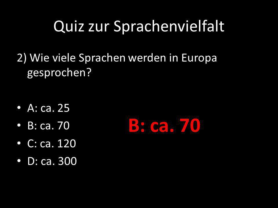 Quiz zur Sprachenvielfalt 3) Wie viele Sprachen auf der Welt werden von jeweils mehr als einer Million Menschen gesprochen.