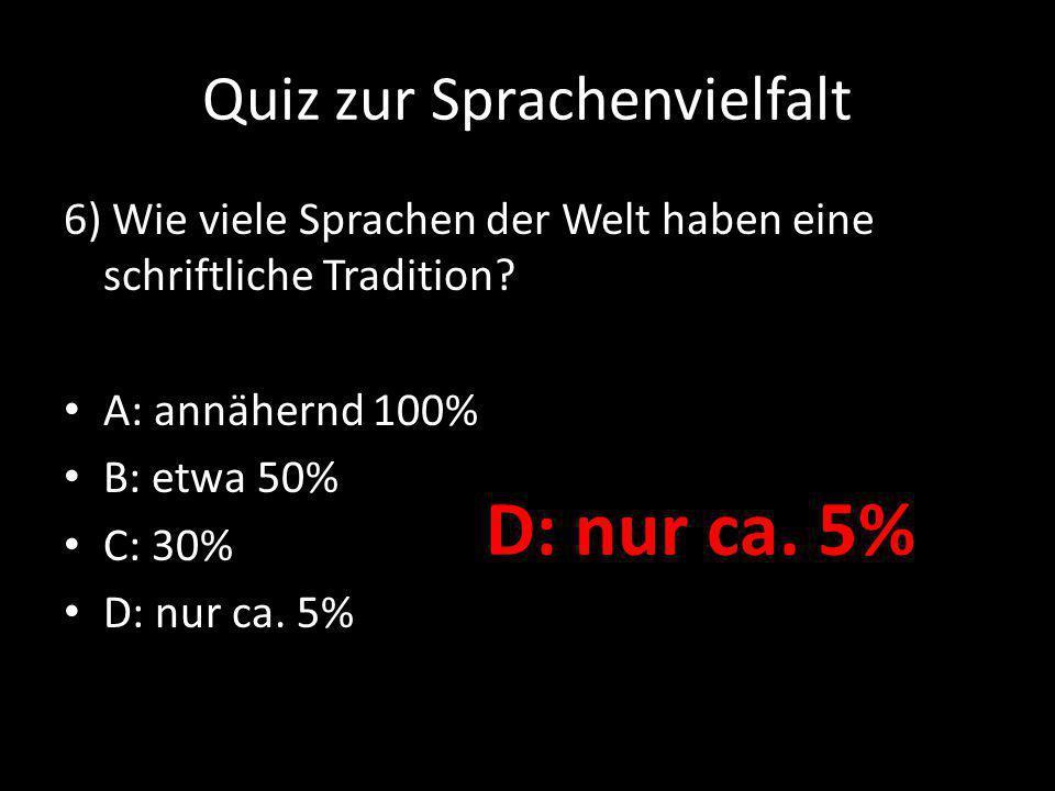 Quiz zur Sprachenvielfalt 7) Wie viele verschiedene bekannte Alphabete gibt es weltweit.