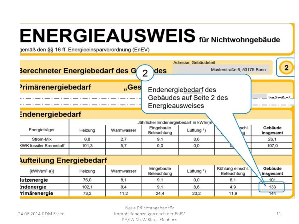 24.06.2014 RDM Essen Neue Pflichtangaben für Immobilienanzeigen nach der EnEV RA/FA MuW Klaus Eichhorn 11