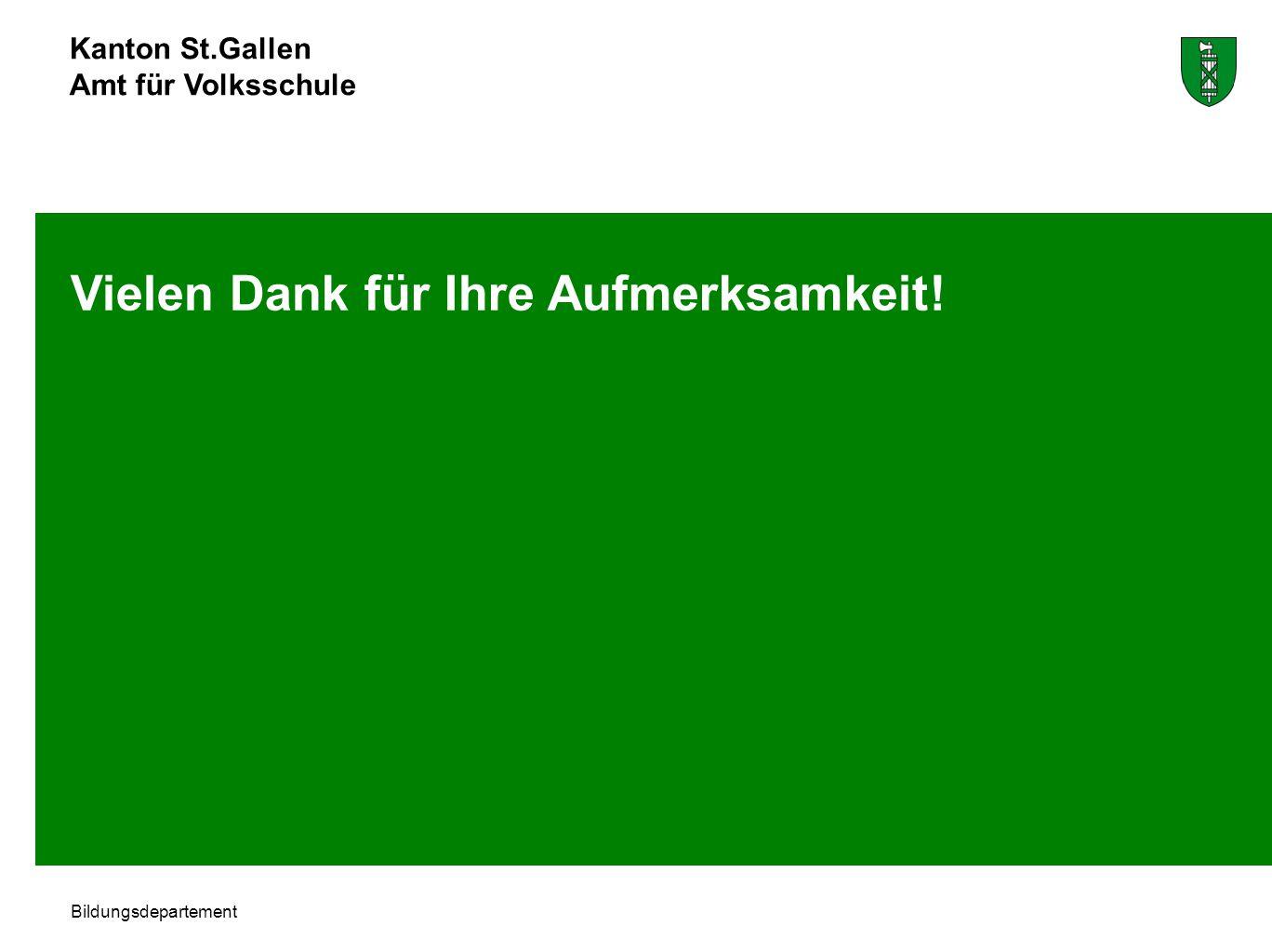 Kanton St.Gallen Amt für Volksschule Bildungsdepartement Vielen Dank für Ihre Aufmerksamkeit!